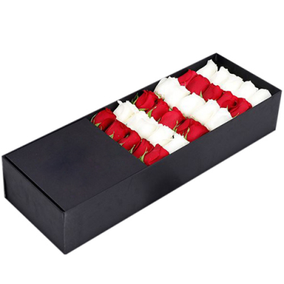 send 30 pcs. red and white color roses in box to davao