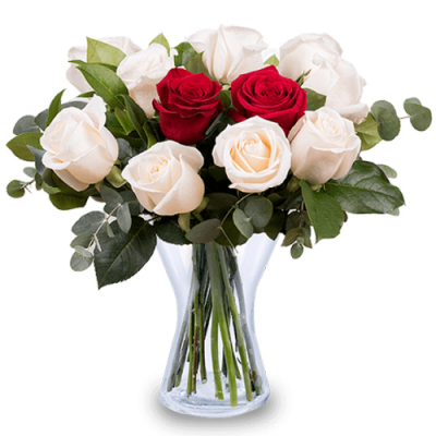 send 1 dozen red and white roses in vase to davao