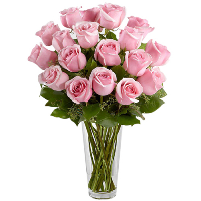 send 12 pcs. pink roses in glass vase to davao